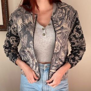 Patterned lightweight bomber style jacket